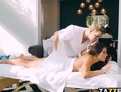 Horny Adriana got her juicy ass fingered by her masseur