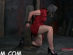 Honey in latex dress gets punished