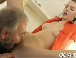 Cute young gal drilled by old dude