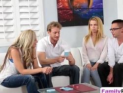 Step sisters pleasing long schlongs in foursome