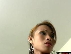 Redhead tranny in sexy bra jerks off her penis till cumshot