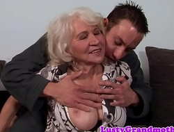 Busty granny fucked and jizzed on hairypussy