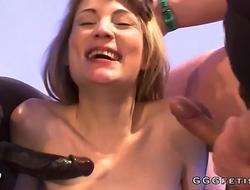 Slut gets bukkakes from black dick